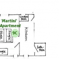 Room 9C in the Martini Apartment in the centre on the first floor.  It has gorgeous views and there is a communal kitchen which may be used by other guests to prepare lunch.  The shower room is for the private use of the occupant of Room 9C
